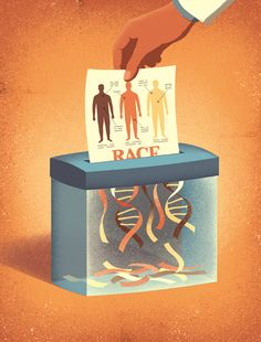 "Davide Bonazzi's latest illustration for Science Magazine accompanies an article explaining why scientists should take the category of ""race"" out of human genetics. Art And Illustration, Illustration Design Graphique, Magazine Illustration, Creative Illustration, Satirical Illustrations, Illustrations And Posters, Caricature, Visual Metaphor, Political Art"