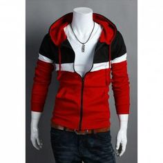 Casual Style Multicolor Splicing Thicken Hooded Coat For Men