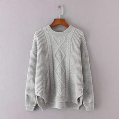 Cable Knit Irregular Dip Hem Sweater #sweater #fashion #clothes #winter #cardigan https://seethis.co/QLZmyM/