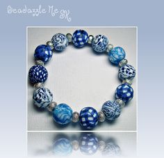 Denim Blue & Gingham Bracelet...in my Etsy Jewelry shop