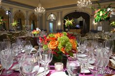 Love this orange and green centerpiece in this dramatic ballroom wedding reception! {The Fairfax at Embassy Row}