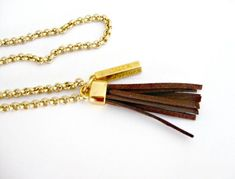 tassel chain necklace - long gold chain necklace with lucky charm and suede leather tassel- gold plated- under 20
