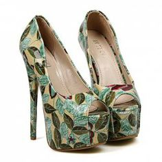$16.77 Elegant Women's Peep Toed Shoes With Sexy High Heel and Floral Print Design