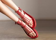 Roman Black /Red Sandals/First Layer True by clothingshow