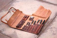 The Stinger - Professional Chef's Leather Knife Roll — ZeeBee Leather Leather Roll, Leather Tooling, Leather Craft, Leather Bag, Tooled Leather, Chef Knife Case, Leather Knife Sheath Pattern, Case Knives, Knife Holder