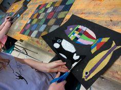 Lesson on Paul Klees....black paper, chalk & oil pastels....colorful