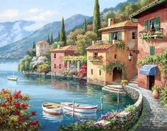 Sung Kim Villagio dal Lago painting for sale, this painting is available as handmade reproduction. Shop for Sung Kim Villagio dal Lago painting and frame at a discount of off. Belle Image Nature, Lakeside Village, Paint By Number Kits, Beautiful Paintings, Painting & Drawing, Diy Painting, Landscape Paintings, Wall Paintings, Seascape Paintings