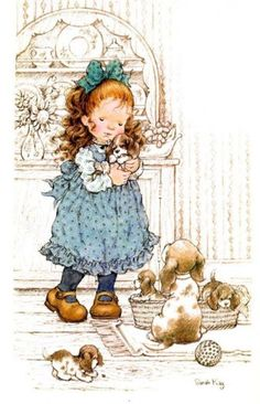 Sarah Kay Wrong colour for Princesses puppies, but she had five. Sarah Key, Holly Hobbie, Sara Key Imagenes, Cute Images, Cute Pictures, Dibujos Cute, Sweet Pic, Australian Artists, Cute Illustration