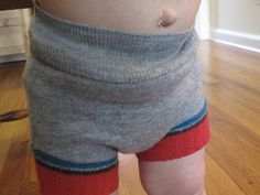 Great tutorial for a wool diaper cover from old sweaters.  Plus a link to a free pattern.