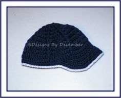 Crocheted Baseball Cap Navy Blue and White 0 to 3 months by DesignsbyDecember, $10.00