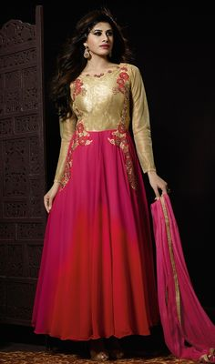 Unique elegance can come out from your dressing trend with this red and pink color georgette net long Anarkali churidar suit. This gorgeous dress is showing some remarkable embroidery done with lace and resham work. #shadedanarkalidresses #boatnecksuits #churidarsalwardress