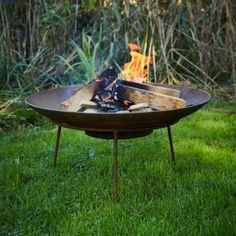 Curved Corten Steel Fire Pit / Garden Feature / Home and Garden / Burner Steel Fire Pit, Fire Pits, Fire Basket, Weathering Steel, Fire Pit Designs, Outdoor Tables, Outdoor Decor, Fire Bowls, Low Maintenance Garden