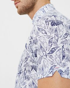 Leaf and bird print cotton shirt - White | Shirts | Ted Baker AU