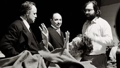 James Caan, Marlon Brando, Salvatore Corsitto and Francis Ford Coppola, filming The Godfather James Caan Godfather, The Godfather Saga, Godfather Part 1, Godfather Movie, Godfather Quotes, Mad Movies, Best Movies List, Gangster Movies, Great Movies