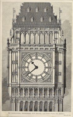 Elevation of the clock-tower at Westminster Palace, London