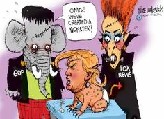 A political cartoon about the Trump Frankenstein monster created by Republicans and Fox News.