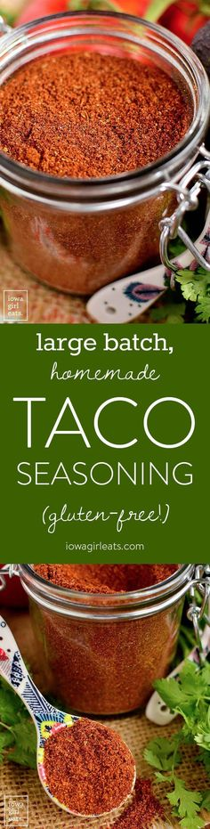 Large Batch Homemade Taco Seasoning is a cinch to prepare and ready when you are for taco night! Free from gluten, dairy, artificial flavors and colors, and preservatives. | http://iowagirleats.com