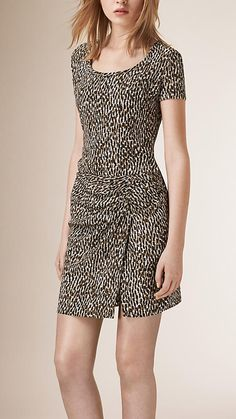 Burberry Sand Ruched Detail Patterned Silk Dress - A lightweight dress in patterned silk.  The short-sleeve design features a feminine ruched detail and front split at the skirt.  Discover the women's dress collection at Burberry.com