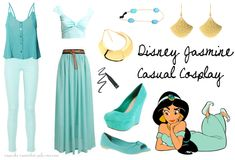 Cosplay Every Day: Disney casual - jasmine - COSPLAY IS BAEEE! Tap the pin now to grab yourself some BAE Cosplay leggings and shirts! From super hero fitness leggings, super hero fitness shirts, and so much more that wil make you say YASSS! Princess Inspired Outfits, Disney Princess Outfits, Disney Themed Outfits, Disney Inspired Fashion, Character Inspired Outfits, Disney Dresses, Disney Fashion, Disney Cosplay, Casual Cosplay