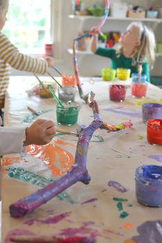 Painted Branches // kids will love this format, especially if they find their own branch // great project for a group