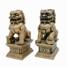 Large Imperial Fu Dogs Figurines (Gold)