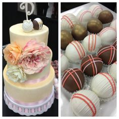 Champagne, coral, and rose wedding cake balls