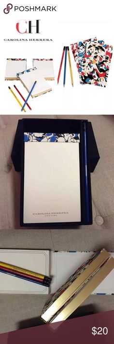 """Carolina Herrera Gilded Journal Box Set &Pencils With this Carolina Herrera gilded stationery set, your thoughts can be as well dressed as you are. This timeless set features three cloth-wrapped notebooks in different sizes. The classic, yet modern prints feature colorful tango couples, elephants and poodles and each comes with a matching Carolina Herrera logo pencil As seen in Newman Marcus ready to gift. Paper Size: 4.125"""" x 6.5"""" Material: Paper, Canvas Includes: 3 Paper Pads, 3 Pencils…"""