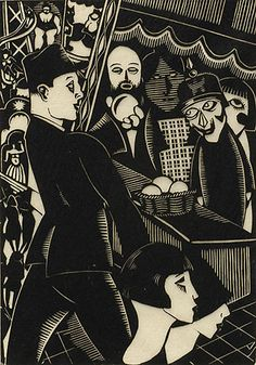 Henri van Straten, The Fair (Kermis)/Massacre of the Innocents, 1925, linoleum cut