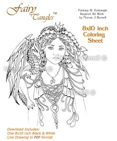 Fairy Queen Of Dragons Tangles Adult Coloring Sheet Book By Norma J Burnell Fairies Digital Pages