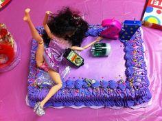 smashed...21st b-day cake!! Lol!