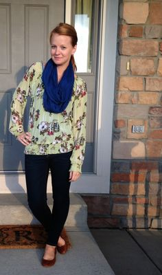 Sweet Bananie - fall twofer: green floral chiffon blouse, navy blue scarf, skinny jeans, and brown flats