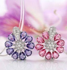 Amazon.com: T400 Jewelers Women's Fashion Elegant Flower Neck Wear Sterling Silver Metal Green Pendant Necklace with Swarovski Elements Crystal 40cm: Jewelry