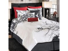 Simultaneously cozy and sophisticated the Amalia - Red Bedding Set by Ashley Furniture is a stylish and comfortable addition to any bedroom. Spruce up your sleeping quarters with this complete bedding ensemble. Red Bedding Sets, Red Comforter, Queen Bedding Sets, Black Bedding, Red Bedspread, Apartment Bedroom Decor, Bedroom Furniture, Furniture Design, Furniture Nyc