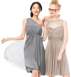 Shop by color at #DavidsBridal to find the perfect neutral hue for your day. #grayweddings #bridesmaiddress