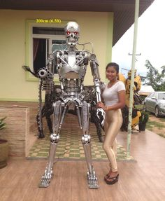 Terminator sculpture, life size, made in Thailand
