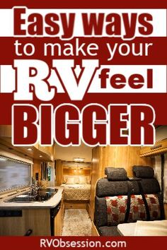 Make your RV interior look bigger with these 7 tips. If you're renovating your RV you can apply all these tips, otherwise just apply a couple of them. Travel Trailer Camping, Travel Trailers, Camping Glamping, Camping Outdoors, Camping Tips, Decorating Your Rv, Decorating Ideas, Decor Ideas, Trailer Remodel