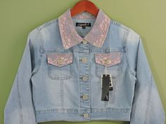 Fashionable Denim Pink Lace Stretch Jacket Sz 2XL NWT #OriginalJeanBrand #Jacket
