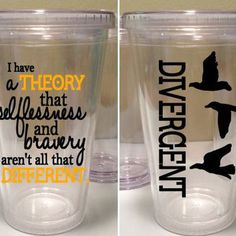 Divergent Quote 16 oz. Tumbler with three birds