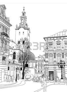 Sketch Vector Illustration Of Lviv Historical Building Ukraine
