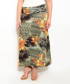This Olive & Orange Floral Maxi Skirt - Plus is perfect! #zulilyfinds