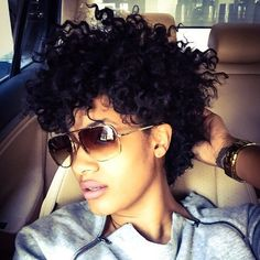 """tapered fro Lazy Hairstyles, """" tapered fro 15 Source by GGRenee. Short Curls, Short Curly Hair, Short Hair Cuts, Curly Hair Styles, Natural Hair Styles, Short Pixie, Asymmetrical Pixie, Curly Pixie, Pixie Cuts"""