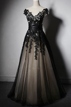 Black tulle lace applique V neck see-through A-line long prom dresses,formal dresses by prom dresses, $163.00 USD