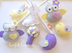 Baby Mobile - Owl mobile - Birds Mobile - Pottery Barn Brooke Bedding on Etsy, $150.00