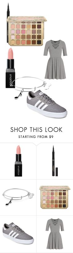 """""""So simple"""" by bolgiebear on Polyvore featuring Smashbox, L'Oréal Paris, Alex and Ani, adidas, Topshop and grey"""