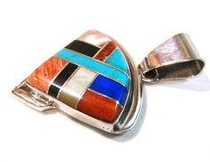 Navajo Inlay Pendant by COWBOY/BECENTI Sterling Silver w/Multi-Stone