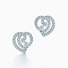 Tiffany Enchant® heart earrings in platinum with diamonds.