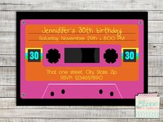 Coupon Code - REPIN10 for 10% off 30s 40s Invitation Printable 80s Theme party 1980s Cassette Tape Custom Invite Girl Boy Adult Theme Party Supplies Karaoke Party $10.99