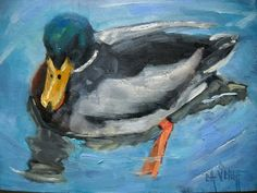 "Contemporary Artists of Florida: Daily Painting, Bird Painting, ""Mr Mallard"" by Carol Schiff, 6x8"" oil"