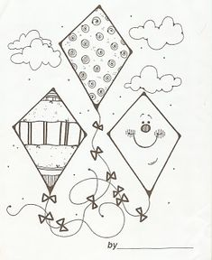 Raviolis for lunch: Let's go fly a kite! Coloring Book Pages, Printable Coloring Pages, Coloring Sheets, Drawing For Kids, Art For Kids, Crafts For Kids, Free Coloring, Coloring Pages For Kids, Kites Craft