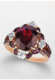 Le Vian 14k Strawberry Gold Pomegranite Garnet, Ocean Blue Topaz, Pink Tourmaline and Cotton Candy Amethyst Ring - Belk Exclusive ...